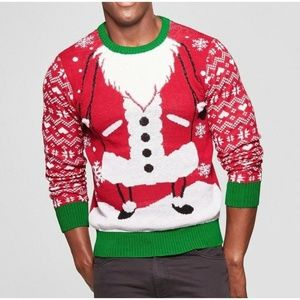 Mens Santa Claus Red Ugly Christmas Sweater